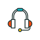 Thin lines connection icon outline of headphones data center group cloud computing system internet protection password Royalty Free Stock Photography