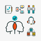 Thin lines connection icons outline set of big data center group cloud computing system internet protection password. Access technical instrument vector Royalty Free Stock Photos