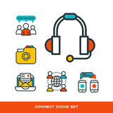 Thin lines connection icons outline set of big data center group cloud computing system internet protection password Royalty Free Stock Photo
