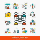 Thin lines connection icons outline set of big data center group cloud computing system internet protection password Stock Photo