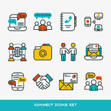 Thin lines connection icons outline set of big data center group cloud computing system internet protection password Stock Photos