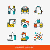 Thin lines connection icons outline set of big data center group cloud computing system internet protection password Royalty Free Stock Photography