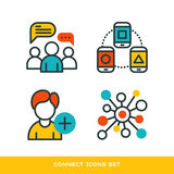 Thin lines connection icons outline set of big data center group cloud computing system internet protection password Royalty Free Stock Photos