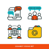 Thin lines connection icons outline set of big data center group cloud computing system internet protection password Stock Image