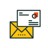 Thin lines connection mail icon outline of big data center group cloud computing system internet protection password Royalty Free Stock Photography