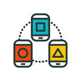 Thin lines connection phone icon outline of big data center group cloud computing system internet protection password. Access technical instrument vector Royalty Free Stock Image