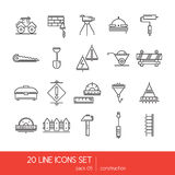 Thin lines icon collection - construstion stuff. Tools for work. Stock Images