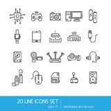 Thin lines icon collection - household appliances, electronics and devices. Royalty Free Stock Photos