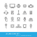 Thin lines icon collection - household appliances, electronics and devices. Stock Images