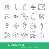 Thin lines icon collection - household appliances, tourism and travel. Lineart vector Stock Images