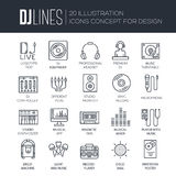 Thin lines icons of Dj staff and any equipment set. Vector music technology and accessories objects elements collection Stock Photos