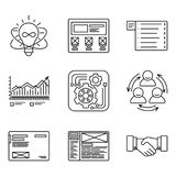 Thin lines icons set of development process, product creating and promotion tools, website network, optimization team stock illustration