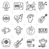 Thin lines music icons set. Punk rock band, guitar, dj Stock Images