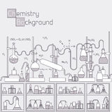 Thin lines outline experiments in a chemistry Royalty Free Stock Photos