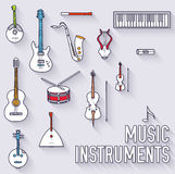 Thin lines outline music instruments icons Royalty Free Stock Photos