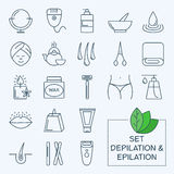 Thin lines web icon set - Depilation and epilation Stock Photography
