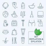 Thin lines web icon set - Depilation and epilation Stock Photography