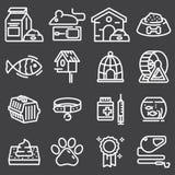 Thin lines web icon set - pet. Vet, pet shop, types of pets Stock Photo
