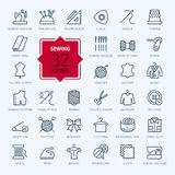 Thin lines web icon set - sewing equipment and needlework Stock Photography