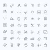 Thin lines web icons set - E-commerce, shopping Royalty Free Stock Photos