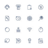 Thin lines web icons set, line icons, web icons. Different sign for sites, web, apps and programs support, atm, camera, store, wifi, smart watch, search and Royalty Free Stock Photography