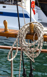 Thin long sturdy rope on a sailing boat Royalty Free Stock Images