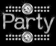 Thin metal diamond word party stock illustration