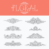 Thin mono line floral decorative design elements Royalty Free Stock Photography