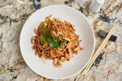 Thin noodles with chicken slices Royalty Free Stock Image