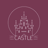 Thin outline castle. Logo template in linear style Royalty Free Stock Image