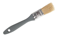 The thin paint brush with natural bristles. On a white background Royalty Free Stock Photo