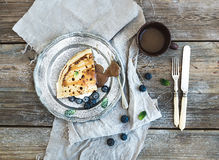 Thin pancake or crepe with fresh blueberry, cream Royalty Free Stock Photography
