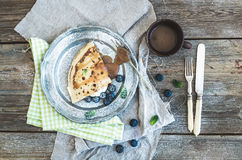 Thin pancake or crepe with fresh blueberry, cream Stock Images