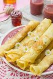 Thin pancakes crêpes with jam Stock Image