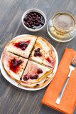 Thin pancakes on a plate Royalty Free Stock Photos