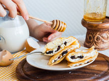 Thin pancakes stuffed with cheese, prunes and sour cream, add ho Stock Photography