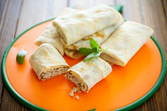 Thin pancakes stuffed with meat Royalty Free Stock Images