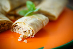 Thin pancakes stuffed with meat Royalty Free Stock Photo