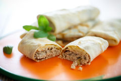 Thin pancakes stuffed with meat Stock Photography