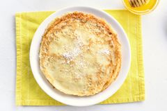 Thin pancakes, sweet crepes stock photography
