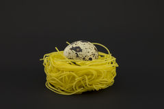 Thin pasta in a form of nest on a dark background. Stock Photo