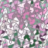 Abstract thin pattern with zigzag and watercolors droplets in green and pink. Thin pattern with zigzag and watercolors droplets in green and pink stock illustration