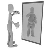 Thin person looking in mirror. Illustration of thin person looking at fat reflection in mirror Stock Photos