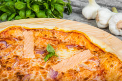 Thin pizza with salmon red fish, rosemary and spices on a ligh Royalty Free Stock Images