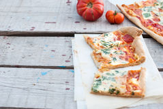 Thin pizza with tomato, grated cheese and herbs Stock Photography