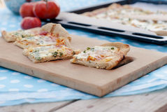 Thin pizza with tomato, grated cheese and herbs Royalty Free Stock Images