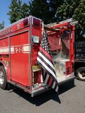 Fire Engine with Thin Red Line American Flag, Rutherford, New Jersey, USA Stock Photography