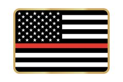 Vector American Thin Line Flag. Thin Red Line Firefighter Flag Vector icon Stock Images