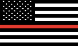 Thin Red Line Firefighter Flag Vector. USA flag. Emblem of respect for live and dead firefighters in USA Royalty Free Stock Photography