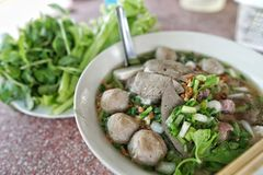 Thin rice noodles with meatball Stock Photography